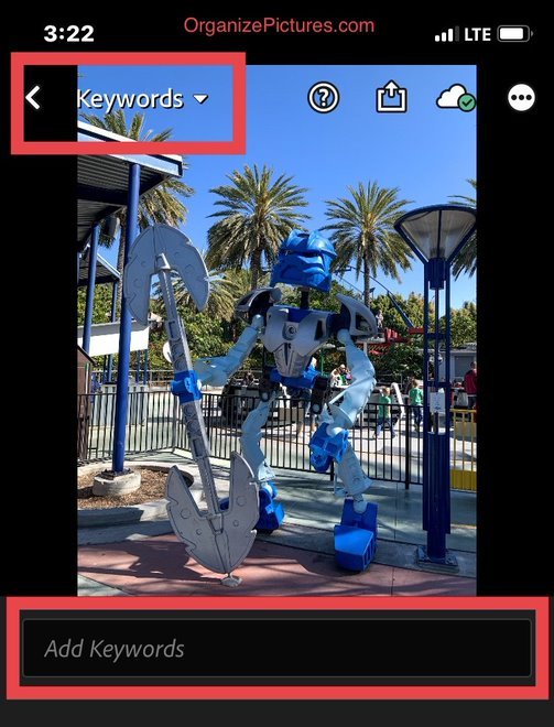 Adding keywords is simple and efficient in Lightroom Mobile